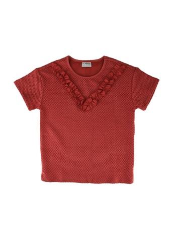 LC Waikiki pink Girl's Ruffle Short Sleeve T-Shirt E29DBKAAC7C47FGS_1