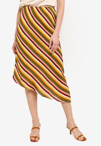 Compania Fantastica yellow and green Striped Midi Skirt D87D2AAAB0F388GS_1