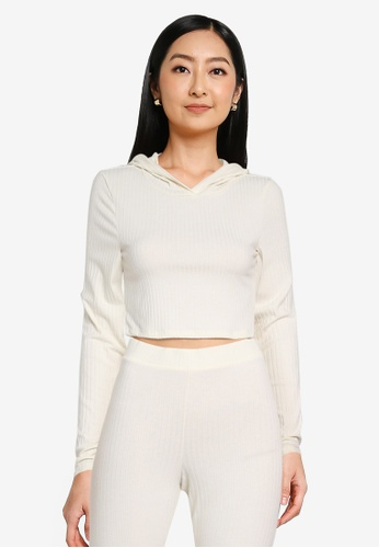 Noisy May white Livia Long Sleeves Cropped Hoodie 6DC38AAE4A5435GS_1