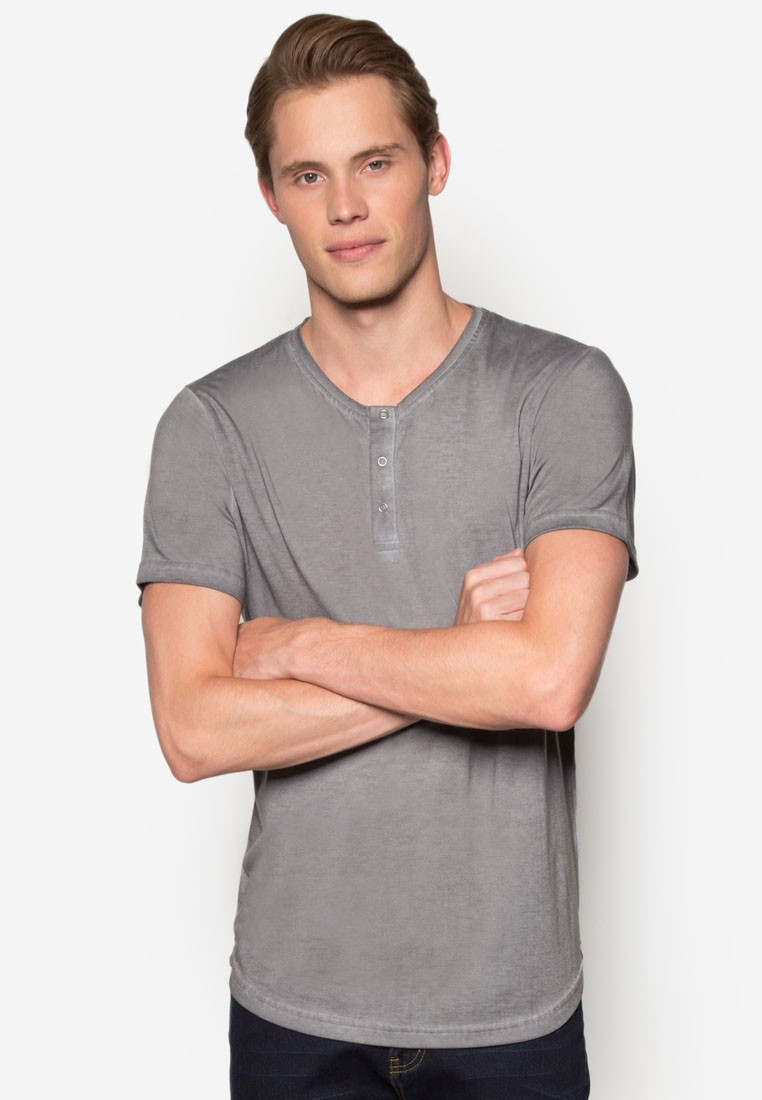 Oil Washed Henley Tee