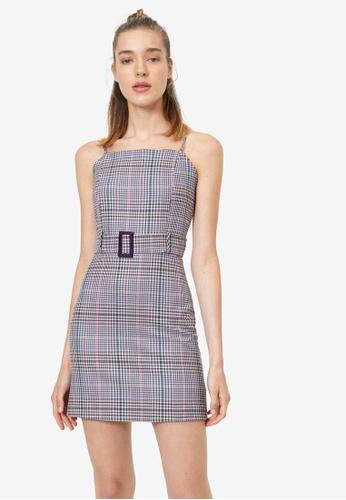 KOTON multi Belted Plaid Dress C7BBCAAE7E403AGS_1