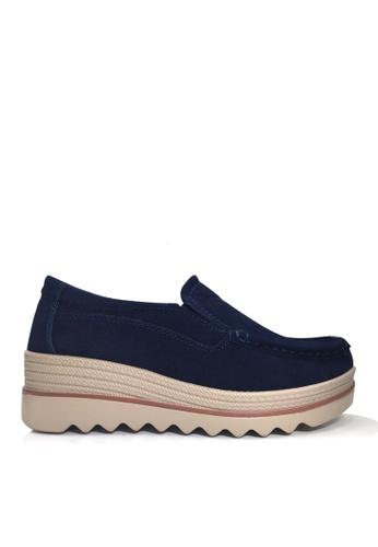 Twenty Eight Shoes 海軍藍色 牛反絨車線輕便鞋 VC3088 9BE05SH33C958BGS_1