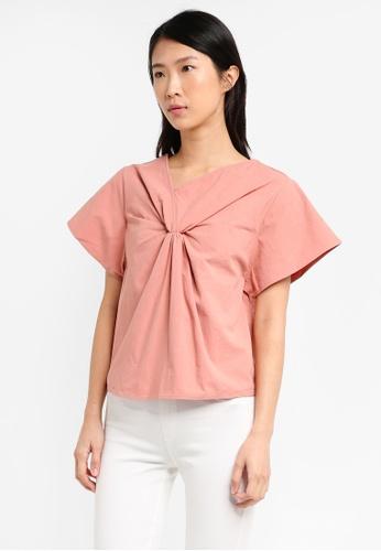 ELLYSAGE pink Waist Tuck Textured Shirt A2816USE2F4691GS_1