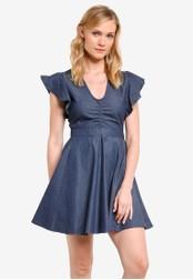 ZALORA blue Fit & Flare Ruffle Sleeve Dress 4B2C5AA0F0AC5AGS_1