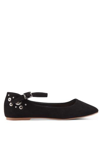 Nose 黑色 鉚釘繞踝平底鞋 98348SH606A13AGS_1