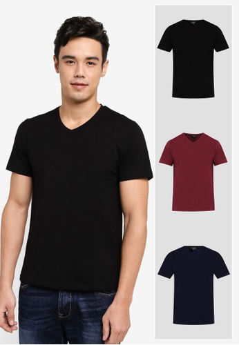 ZALORA black and red and navy 3 PACK COTTON V NECK SHORT SLEEVE TEE ZA819AA0T27CMY_1