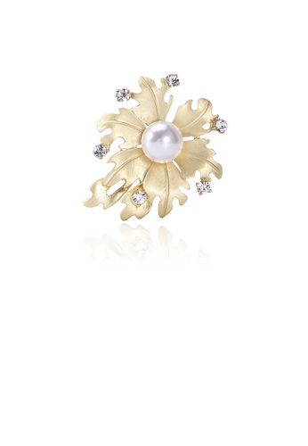 Glamorousky white Fashion and Simple Plated Gold Leaf Imitation Pearl Brooch with Cubic Zirconia 7F910AC8BBF09CGS_1