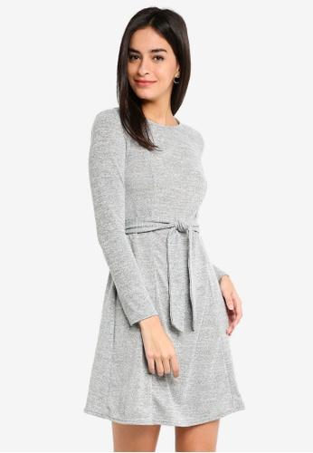 Dorothy Perkins 灰色 Grey Tie Waisted Dress 414BDAAA64E46CGS_1