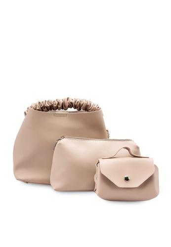 Red's Revenge pink Arabella Ruched Top Handle Bag Set AA83CAC62BCA0CGS_1