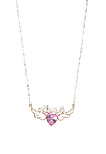 Eden 文字心形翅膀吊飾項鍊, 飾品配esprit門市件, 項鍊