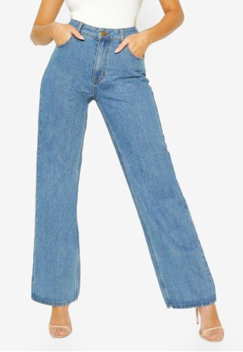 Boohoo blue High Rise Wide Leg Jeans 2F09DAA0EB1920GS_1