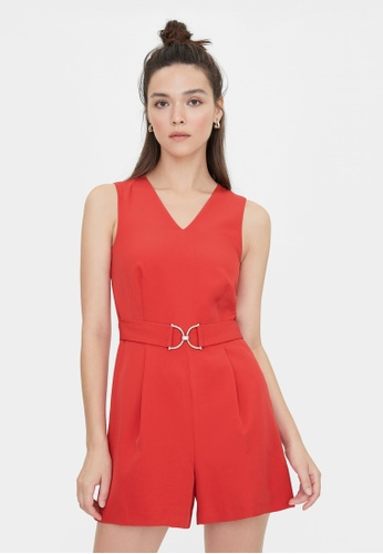 Pomelo red V Neck Belted Romper - Red 0F33EAA75AAC7CGS_1
