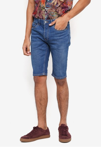 Topman blue Bright Blue Wash Stretch Skinny Shorts 82C44AA907E872GS_1