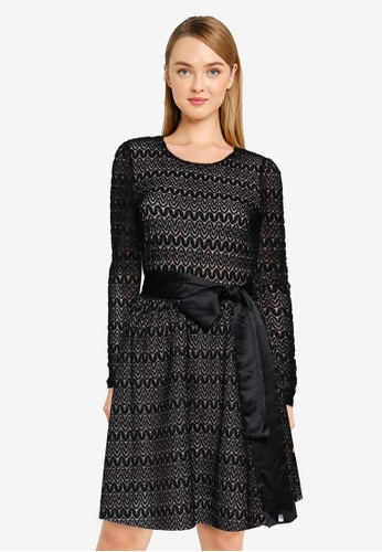 French Connection black Yukina Lace Jersey Dress D6901AA3840682GS_1