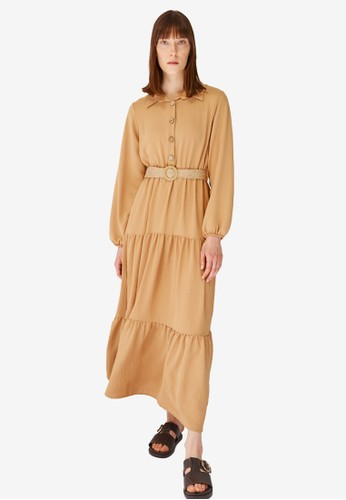 Trendyol brown Camel Tiered Maxi Shirt Dress 6FDA8AA4E87BBCGS_1