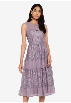 81479a9e70 Little Mistress purple Lace Panel Midi Dress 19D96AA02EB98CGS_1