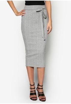 Ribbed Wrap Waist Midi Skirt
