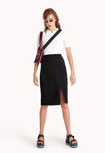 Pomelo black Midi High Waist Pencil Skirt - Black 254F3AA4D1BF95GS_1