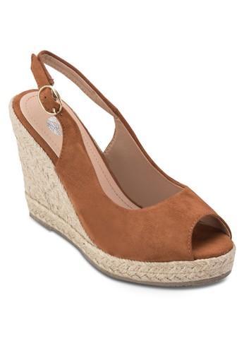 Purd esprit高雄門市魚口繞踝楔型跟鞋, 女鞋, 鞋