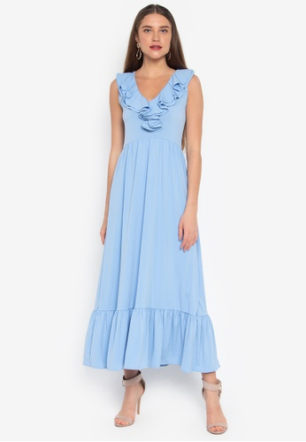 c5bc1a6f1aa Shop Ashley Collection V-Neck Ruffled Maxi Dress Online on ZALORA ...