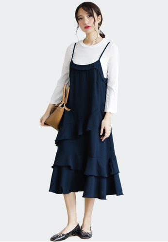 Shopsfashion navy Ruffles Slip Dress 11064AAB73B1D2GS_1