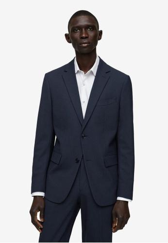 MANGO Man 藍色 修身Fit 羊毛 Suit 西裝外套 597B3AA294F391GS_1