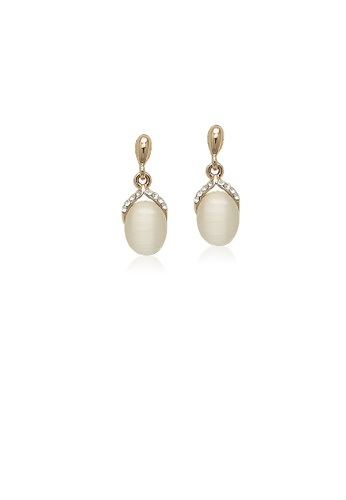 Chomel Gold Simulated Moonstone Drop Stud Earrings 52de5ac2d527e8gs 1