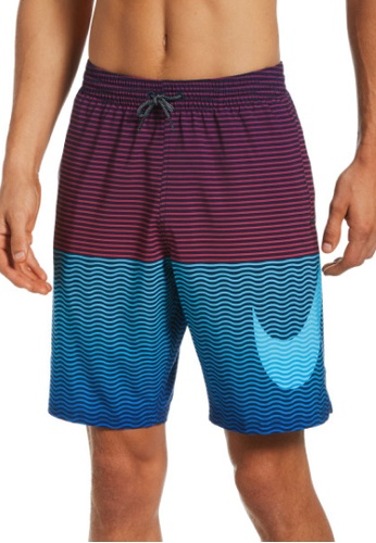 "Nike blue Nike Horizon Stripe Vital 9"" Volley Short 1E89EUSB53F0C6GS_1"