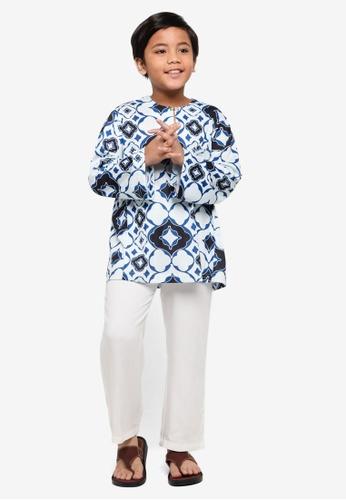 Rizalman for Zalora white and blue Maqbul Kids Baju Melayu 0DB1BKA10D011FGS_1