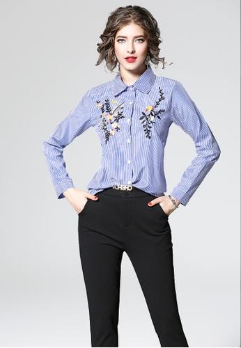NBRAND blue Long Sleeve Embroidery Shirt NB356AA0GQMLSG_1