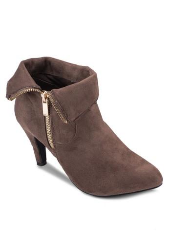 反折esprit sg拉鍊仿麂皮高跟踝靴, 女鞋, 靴子