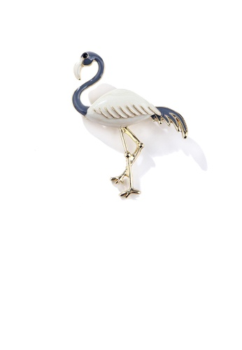 Glamorousky black Fashion and Elegant Plated Gold White Flamingo Brooch with Cubic Zirconia 0ECEFACD6D1EB1GS_1