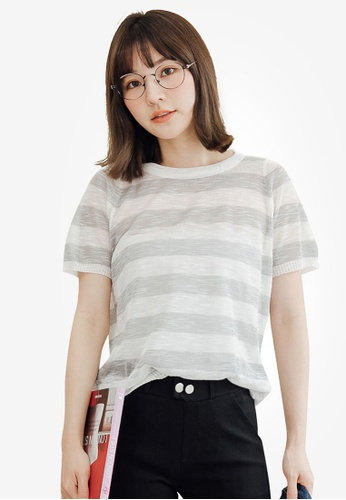 Tokichoi grey Relaxed Stripes T-Shirt 81C26AACD74633GS_1