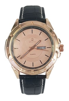 Rose Gold Case Day of Week Display Leather Strap Wrist Watch
