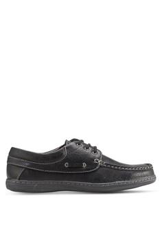 【ZALORA】 三眼繫帶仿皮船型鞋