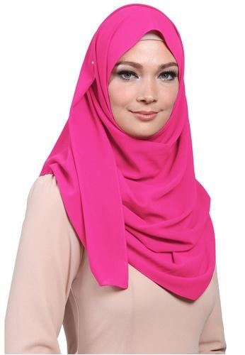 POPLOOK pink Aida Chiffon Tudung Headscarf 10B90AAB913F24GS_1