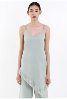 [PRE-ORDER] Mint Green Crepe Slip-on Dress with Frayed Hem