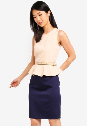 ZALORA BASICS multi and beige and navy Basic Peplum Fitted Dress With Belt 4ADADAACBDDFFEGS_1