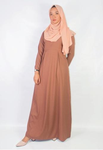 Zaryluq brown Pleated Dress in Macchiato 081AEAA26EF447GS_1