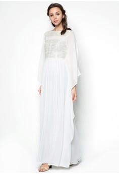 Lace Pieced Kaftan Dress