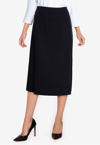 ZALORA WORK black High Waist A Line Midi Skirt 442D2AA3C8B39DGS_1