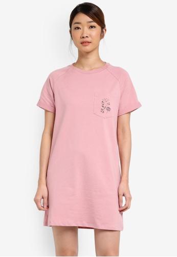 Something Borrowed pink Pocket Logo Tee Dress B99E6ZZD945B91GS_1