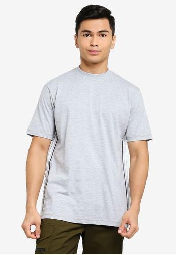 Mennace grey Short Sleeve Branded Mennace Limited Side Tape Tee 31054AA66789CFGS_1