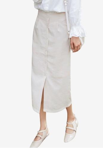 Shopsfashion beige Split Midi Pencil Skirt A90FAAA1124999GS_1