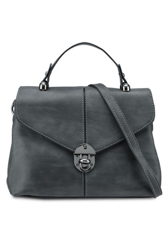 Bagstationz grey Faux Leather Convertible Satchel With Turn Lock 19D61ACE98759FGS_1