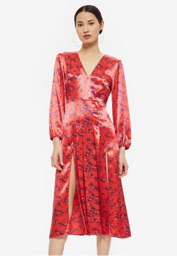 TOPSHOP red Wispy Floral Midi Dress E6720AA018EEAFGS_1