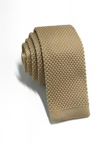 Splice Cufflinks Interlace Series Golden Brown Knitted Tie SP744AC08KSLSG_1