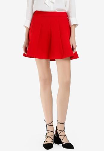 Hopeshow 紅色 Pleated Mini Skirt C06D6AA459E063GS_1