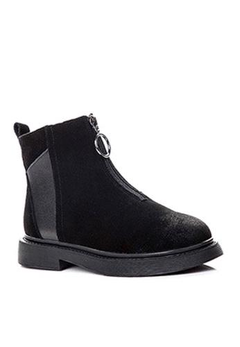 Twenty Eight Shoes black Nubuck and Top Layer Cowhide Mid Boots VB1555 EB4EASH12ECCA1GS_1