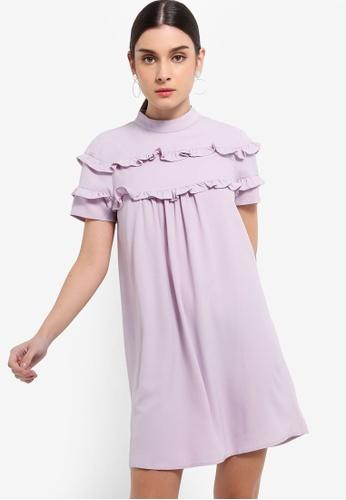 ZALORA 紫色 高領荷葉飾洋裝 7B83EAA816C9FFGS_1